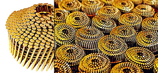 Wooden Pallet Making Screw Shank Coils Nails Yellow Color Plated